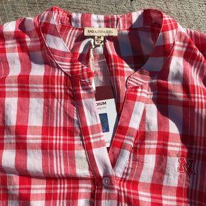 Nebraska Huskers Embroidered Plaid Shirt Medium